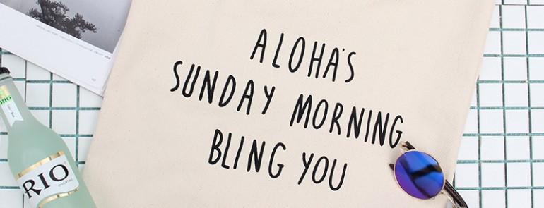 """ハワイ 英字トートバッグ Aloha's(アロハ) """"Sunday Morning Bring You""""かばん&ハンドバッグ通勤・通学・お出掛けにも最適!3440"""