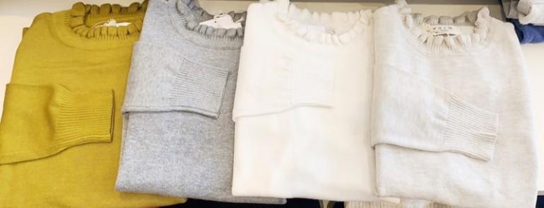 綿ニットフリルプルオーバー